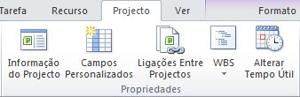 Grupo Propriedades no separador Projecto