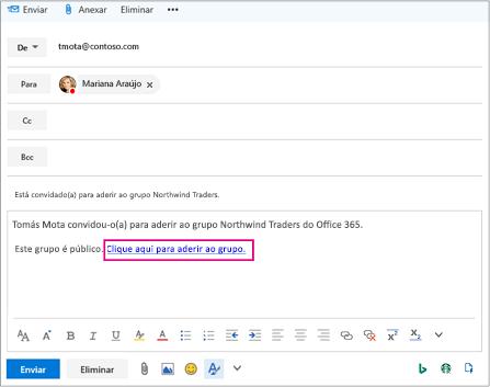 Enviar por correio eletrónico com a ligação convidar utilizador para aderir a grupo