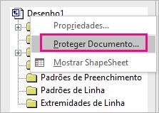 Opção Proteger Documento no Explorador de Desenho no Visio 2016