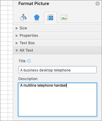 Captura de ecrã a mostrar a área Texto Alternativo do painel Formatar Imagem com uma descrição da imagem selecionada