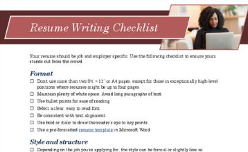 Uma lista de verificação para escrever um currículo