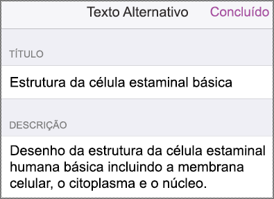 Caixa de diálogo Texto alternativo no iPhone.
