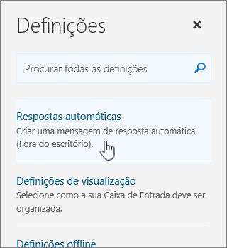 Captura de ecrã do ecrã Ajuda com Resposta automática selecionada.
