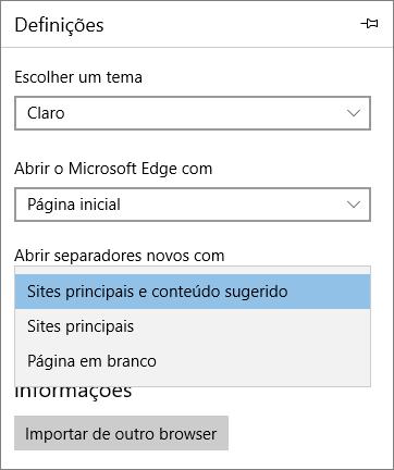 """As definições do Microsoft Edge para mostrar o separador """"O Meu Office 365"""""""
