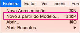 Novo a partir de modelo no Office para Mac