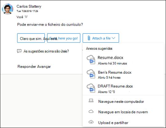 Anexar ficheiros sugeridos no Outlook.