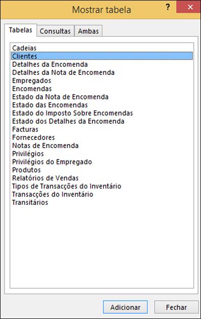 Caixa de diálogo Mostrar Tabela no Access a apresentar nomes de tabelas