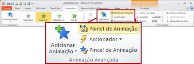 O grupo Animação Avançada no separador Animação no friso do PowerPoint 2010.