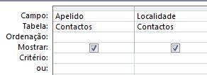 estruturador de consulta com critérios definidos para apresentar os registos com campo de valor em branco