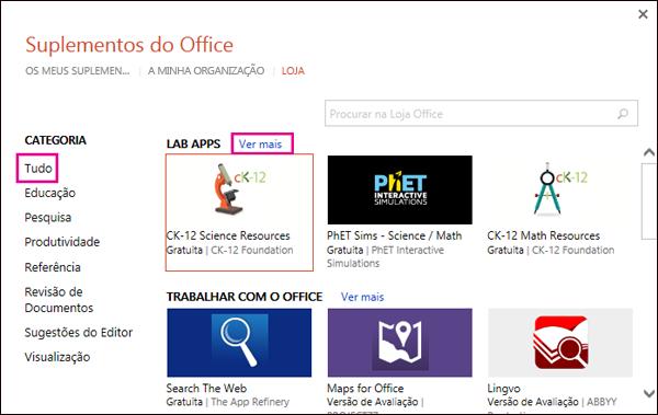 Caixa de diálogo Suplementos do Office com a ligação Todos e ver mais realçada