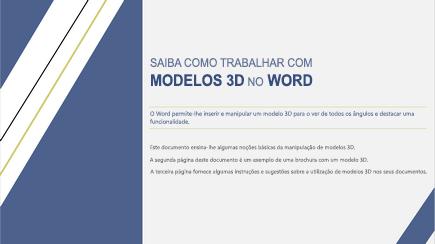 Captura de ecrã a mostrar a capa de um modelo do Word em 3D