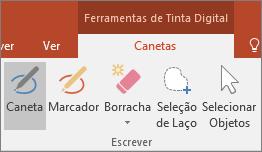 Apresenta o botão Caneta nas Ferramentas de Tinta Digital no Office