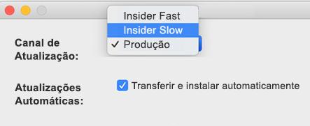 Imagem da janela das Atualizações Automáticas da Microsoft para Mac-> Janela de preferências que mostra as opções Insider Slow e insider Fast.
