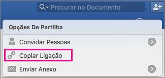 Para copiar uma ligação do documento para a área de transferência, clique em Copiar Ligação