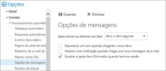 Uma captura de écran mostra a caixa de diálogo Opções de mensagem, na qual a caixa de seleção está marcada para Esvaziar a pasta Itens Eliminados, quando eu saio.