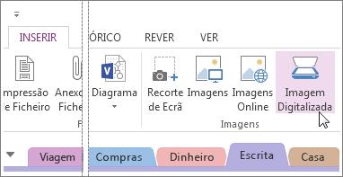 Inserir imagens digitalizadas nas suas notas