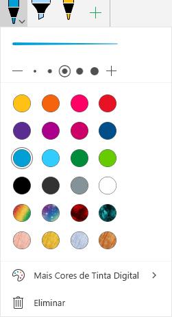 A tinta digital cores e efeitos para desenho com tinta digital no Office no Windows Mobile
