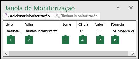 A Janela de Monitorização permite monitorizar facilmente as fórmulas utilizadas numa folha de cálculo