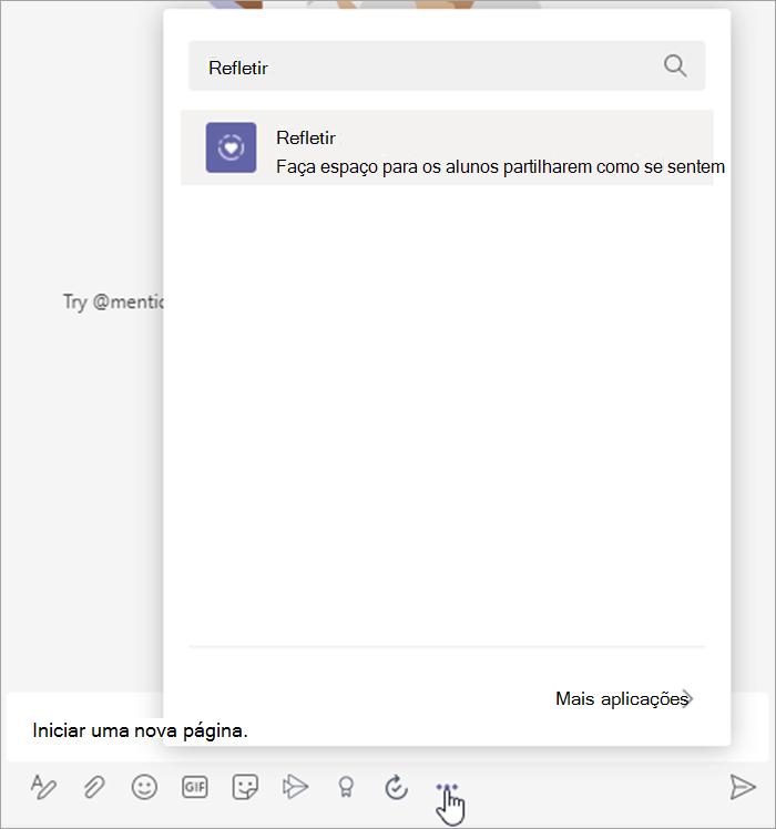 """captura de ecrã de cursor a pairar sobre as reticências abaixo do pop-up de extensão de mensagens """"nova conversação"""" com a palavra """"Refletir"""" na barra de pesquisa"""