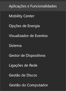 Captura de ecrã do menu Iniciar a mostrar a opção Aplicações e Funcionalidades