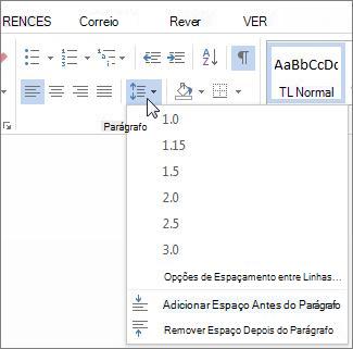 Ecrã espaçamento entre linhas e parágrafos