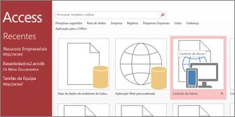 Modelo de controlo de ativos na página inicial do Access
