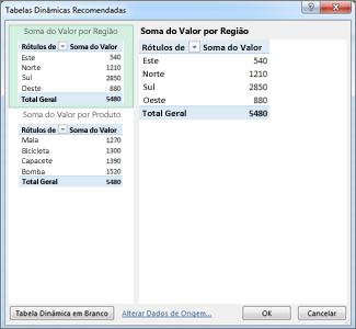 Em Tabelas Dinâmicas Recomendadas, selecione Esquema de Tabela Dinâmica no Excel