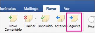 No separador Rever, na secção Comentários, está realçada a opção Comentário Seguinte