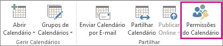 Botão de permissões do calendário no separador base do Outlook 2013
