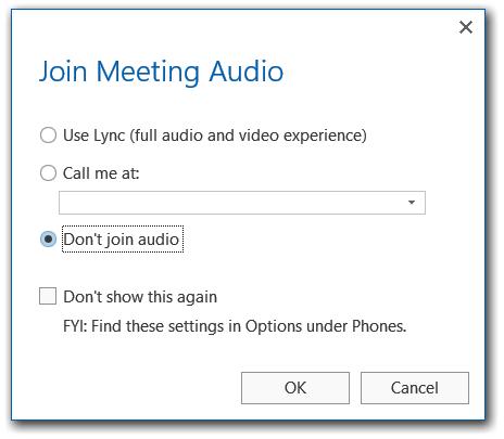 Não participar no áudio