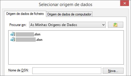 Caixa de diálogo Selecionar Origem de Dados