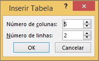 Mostra a caixa de diálogo Inserir Tabela no PowerPoint