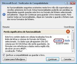 Verificador de Compatibilidade no menu Verificar Existência de Problemas