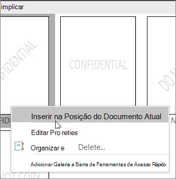 Clique com o botão direito do rato na miniatura da marca d' água que mostra o comando Inserir no documento atual.