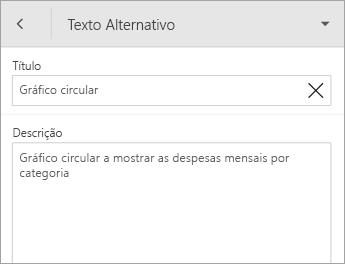 Comando Texto Alternativo no separador Gráfico