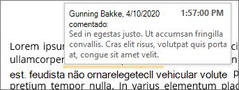 Comentário inline com ScreenTip