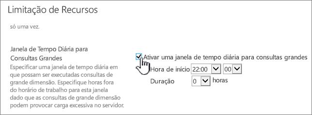 A página de definições da aplicação da Administração Central com a janela de Tempo Diária realçada