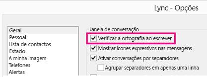 """""""Captura de ecrã da janela opções gerais com a verificação ortográfica em destaque"""""""