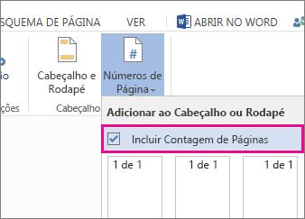Imagem da caixa de verificação a selecionar para incluir a contagem de páginas com os números de páginas num documento (página X de Y).