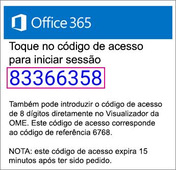 E-mail de código de visualização da OME