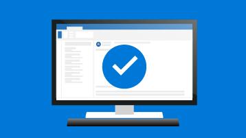 Símbolo de marca de verificação com um computador de secretária a mostrar uma versão do Outlook