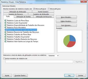 Lista de modelos de relatórios visuais do Excel na caixa de diálogo Ver Relatórios