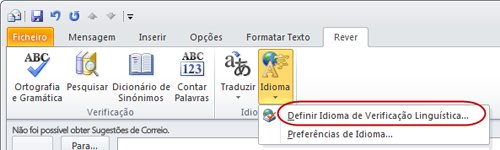 Idioma no Separador Rever do Friso da Mensagem do Outlook