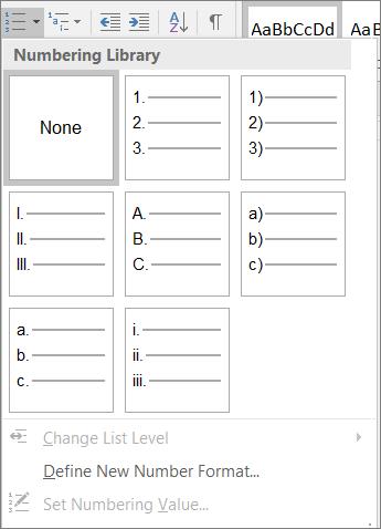 Captura de ecrã a mostrar as opções de estilo de numeração