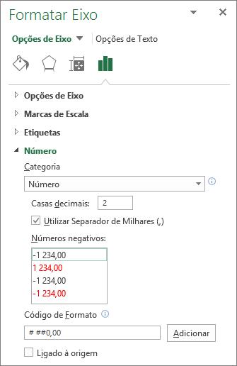 Secção formato numérico nas opções do eixo