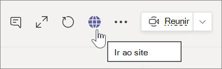 Tela de tiro do cursor apontando para ícone do globo e texto de ponta de ferramentas Vá para o site
