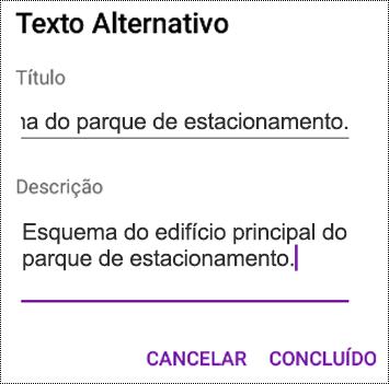 Adicionar texto alternativo a imagens no OneNote para Android