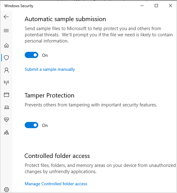 Instantâneo da aplicação de segurança do Windows
