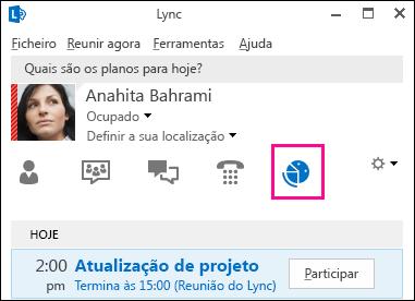 Captura de ecrã do separador de vista de reuniões