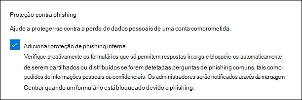 Microsoft forma a definição de administração para proteção de phishing